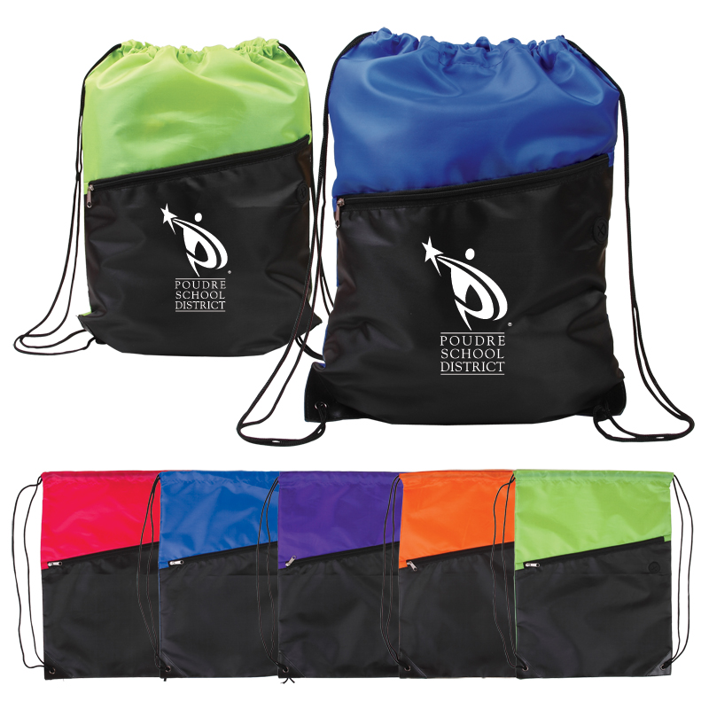 Two-Tone Drawstring Backpack w/ Zipper