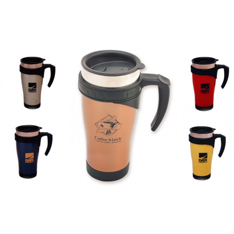 15 Oz. Designer Stainless Steel Commuter Mug w/ OpenHandle